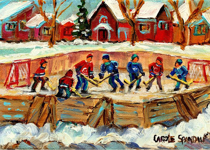 Montreal Greeting Card featuring the painting Montreal Hockey Rinks Urban Scene by Carole Spandau