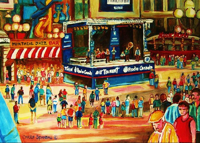 Montreal Greeting Card featuring the painting Montreal Jazz Festival by Carole Spandau
