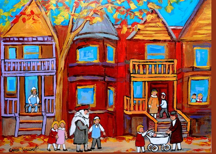 Outremont Greeting Card featuring the painting Montreal Memories Of Zaida And The Family by Carole Spandau