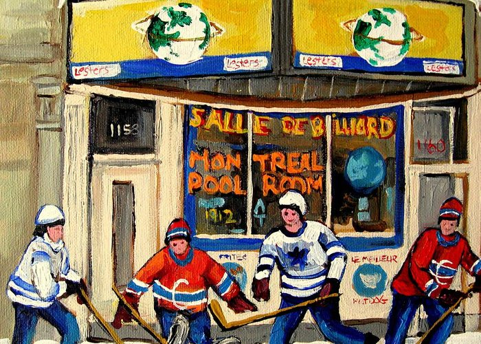 Montreal Greeting Card featuring the painting Montreal Poolroom Hockey Fans by Carole Spandau