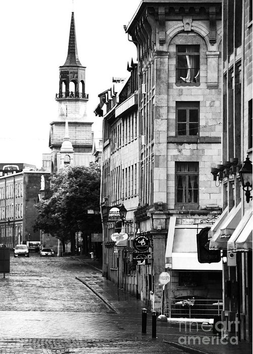 Montreal Street In Black And White Greeting Card featuring the photograph Montreal Street In Black And White by John Rizzuto