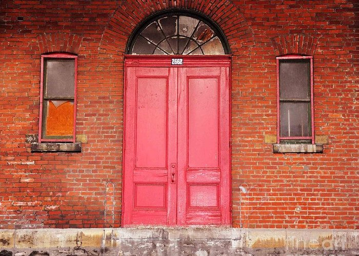 Red Doors Greeting Card featuring the photograph Montreal Street Photography by Reb Frost