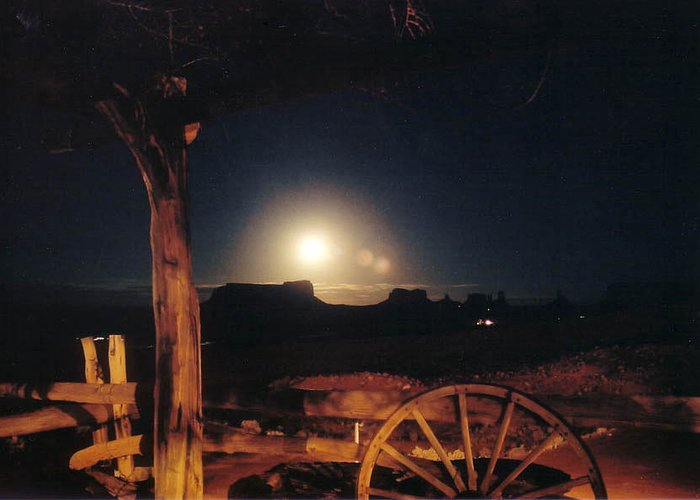 Landscape Greeting Card featuring the photograph Monument Moonrise by Cathy Franklin