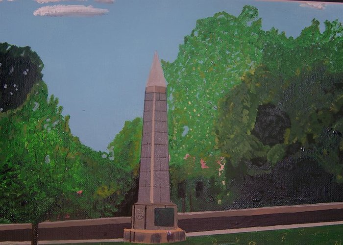 Revolutionary War Greeting Card featuring the painting Monument Of The Revolutionary War Of 1776 by William Demboski