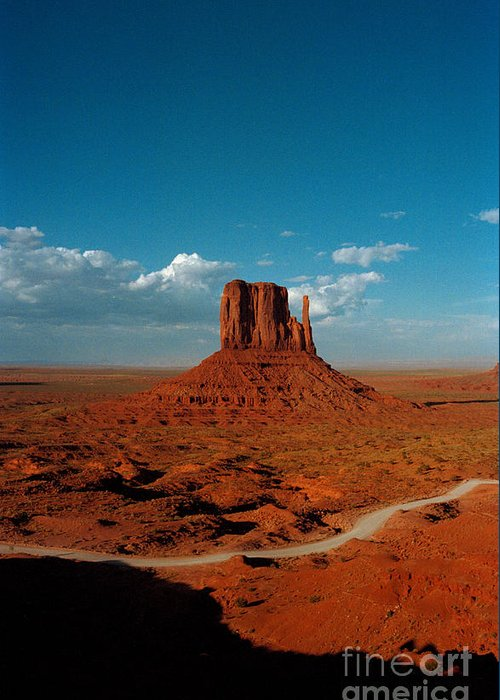 Landscape National Park Blue Sky Red Rock Cloud Greeting Card featuring the photograph Monument Park by Ty Lee