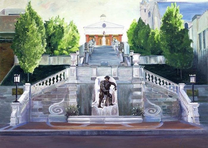 Monument Terrace Greeting Card featuring the painting Monument Terrace by J Luis Lozano