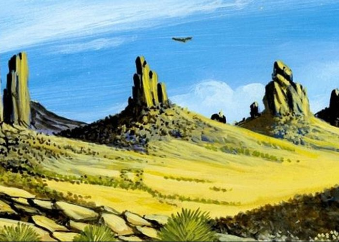 Monument Valley Greeting Card featuring the painting Monument Valley Eagle Rock by Bob Patterson