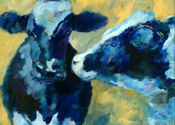 Animals Greeting Card featuring the painting Moo Moo by Ron Patterson