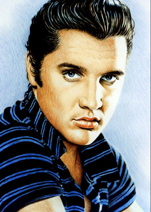 Elvis Greeting Card featuring the drawing Moody Blue by Andrew Read