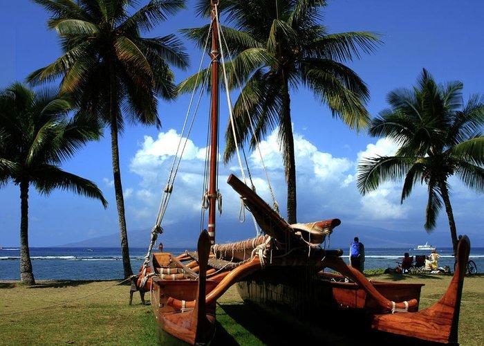 Aloha Greeting Card featuring the photograph Moolele Canoe At Hui O Waa Kaulua Lahaina by Sharon Mau
