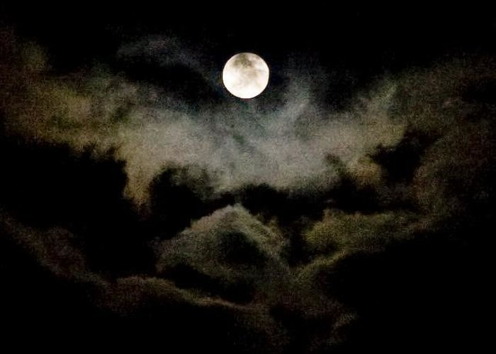 Moon Greeting Card featuring the photograph Moon And Clouds by Carla Neufeld