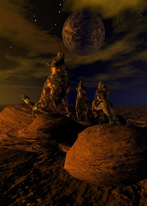 Bryce 3d Digital Fantasy Wolves Scifi Surreal Greeting Card featuring the digital art Moon Chorus by Claude McCoy