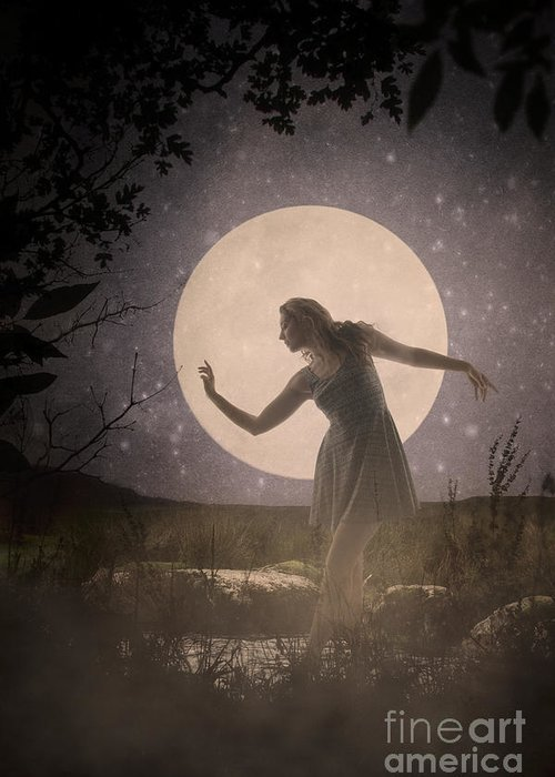 Moon Greeting Card featuring the photograph Moon Dance 001 by Clayton Bastiani