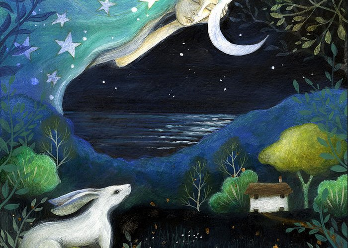 Fairytale Greeting Card featuring the painting Moon Dream by Amanda Clark