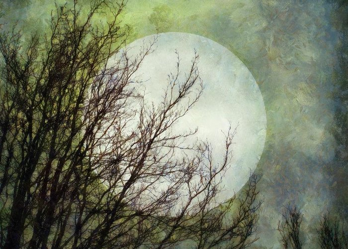 Moon Greeting Card featuring the digital art Moon Dream by Patricia Strand