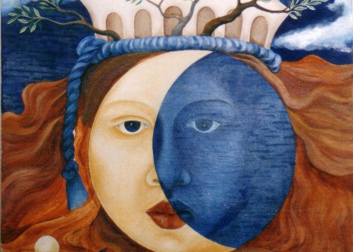 Faces Greeting Card featuring the painting Moon Face by Amrei Al-Tobaishi-Jarosch
