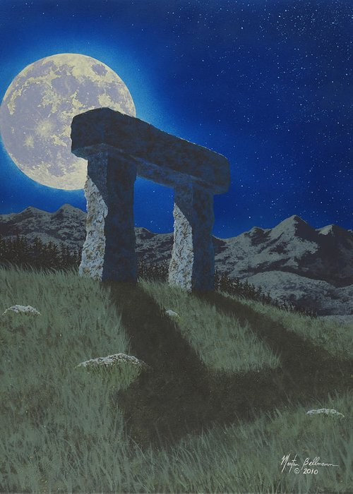 Moon Greeting Card featuring the painting Moon Gate by Martin Bellmann