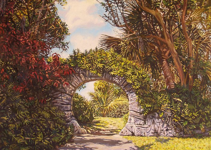 Bermuda Greeting Card featuring the painting Moon Gate by Otto Trott