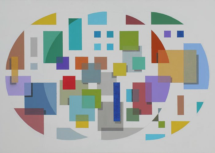 Geometric Abstract Greeting Card featuring the painting Moon Gate Series #2 by Marston A Jaquis