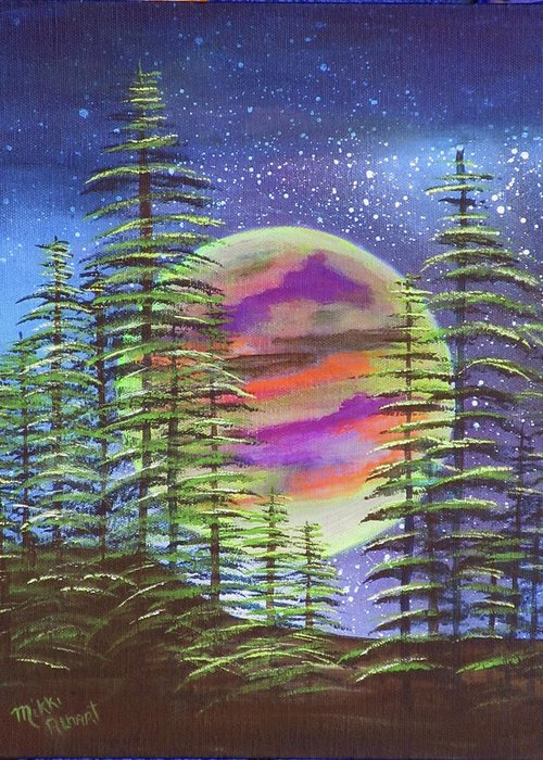 Moon Greeting Card featuring the painting Moon Glow by Mikki Alhart