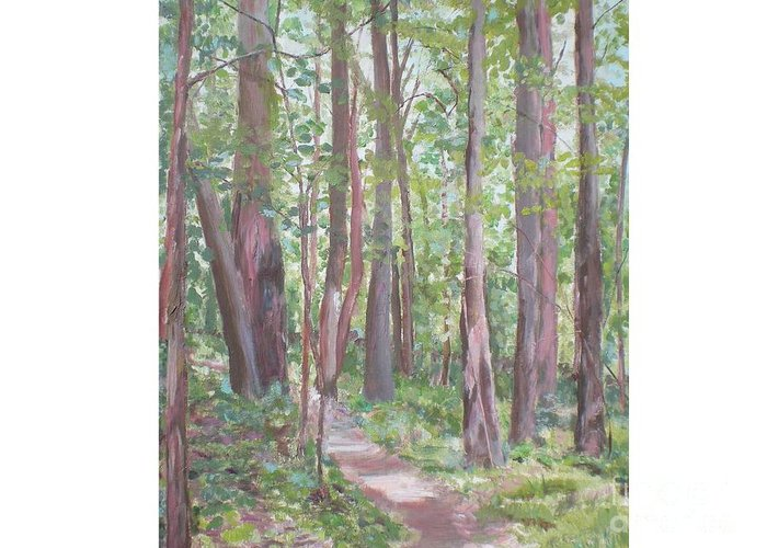 Pathway Greeting Card featuring the painting Moon Lake Pathway by Hal Newhouser