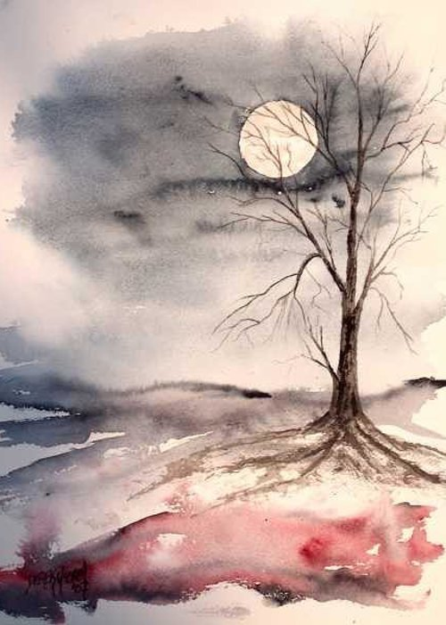 Moon Greeting Card featuring the painting Moon Light by Derek Mccrea