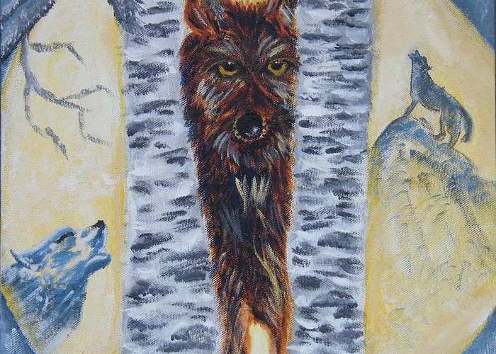 Wolves Greeting Card featuring the painting Moon Of The Wolves by Margaret G Calenda