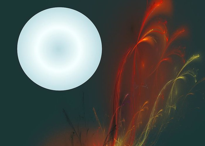 Digital Painting Greeting Card featuring the digital art Moon Over Fire Weed by David Lane
