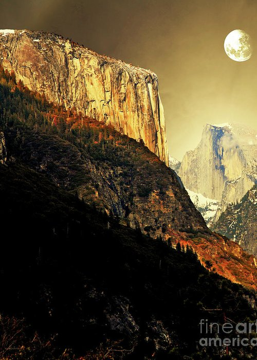 Landscape Greeting Card featuring the photograph Moon Over Half Dome . Portrait Cut by Wingsdomain Art and Photography