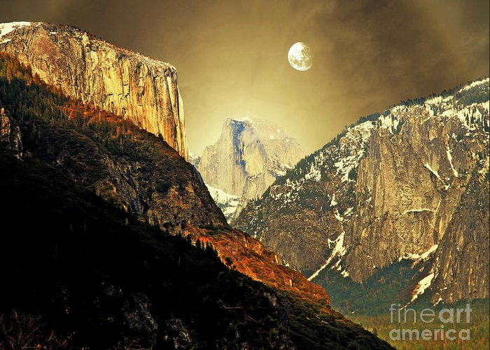 Landscape Greeting Card featuring the photograph Moon Over Half Dome by Wingsdomain Art and Photography