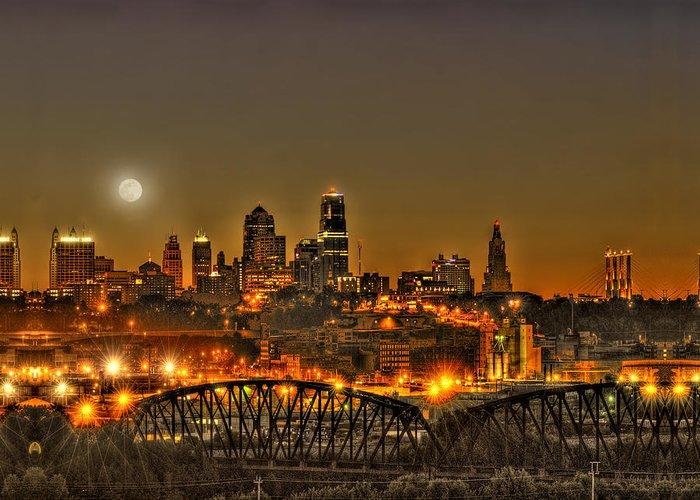 Moon Greeting Card featuring the photograph Moon Over Kansas City Mo by Don Wolf