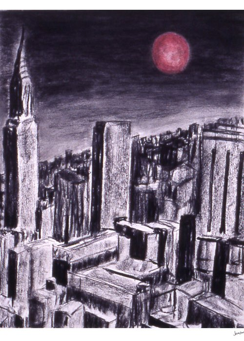 Night Sky Greeting Card featuring the drawing Moon Over Manhattan by Gary Jameson