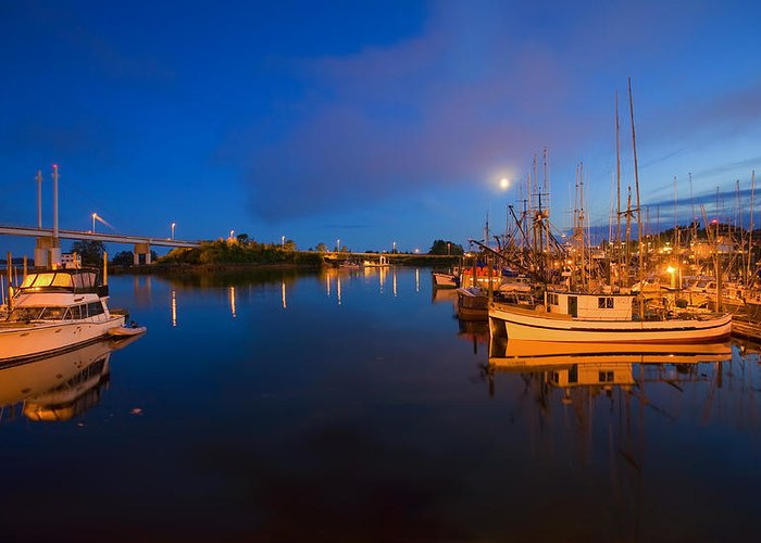 Marina Greeting Card featuring the photograph Moon Over Sitka Marina by Mike Dawson
