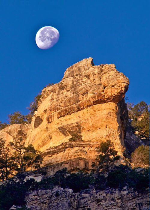 Moon Greeting Card featuring the photograph Moon Over The Canyon by Jacek Joniec