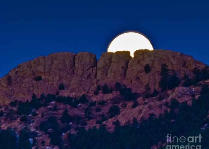 Moon Greeting Card featuring the photograph Moon Setting Behind Horsetooth Rock by Harry Strharsky