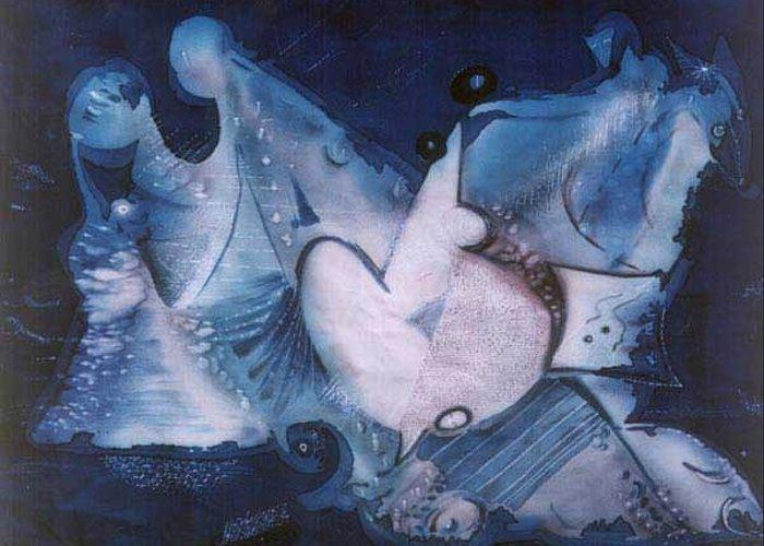 Batik Greeting Card featuring the tapestry - textile moon U can get original print more art at www arteforte net by Anastasia Ponyatovskaya