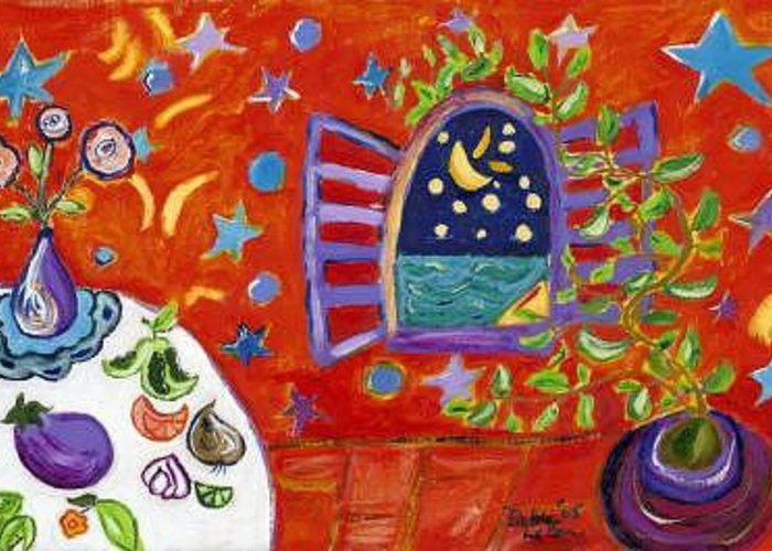 Moon Greeting Card featuring the painting Moon Window by Debra LaBar