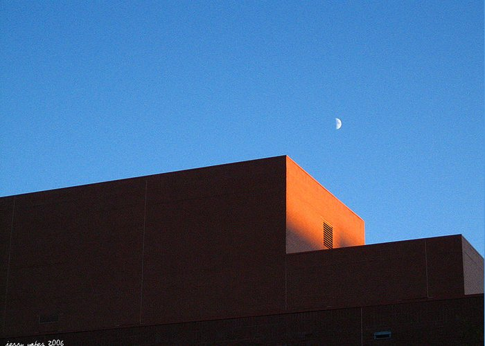 Buildiing Greeting Card featuring the photograph Moon With Brick by Gerard Yates