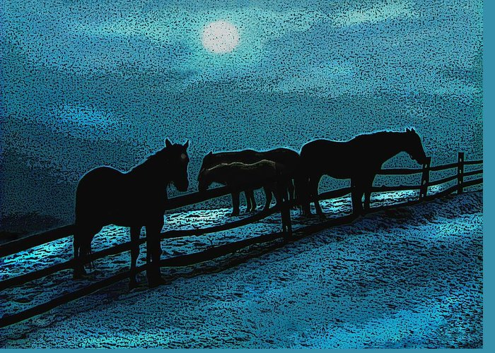 Split Rail Fence Greeting Card featuring the photograph Moonbeam by Gordon Beck