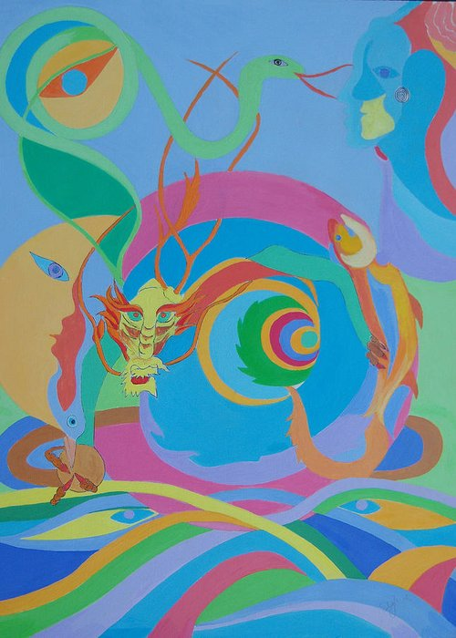 Acrylic Greeting Card featuring the painting Moonbird In A Dragon Spiral by Seema Gill