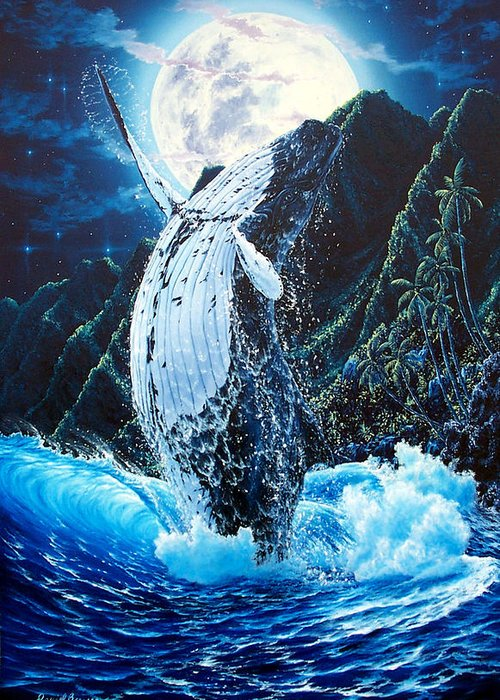 Dolphin Greeting Card featuring the painting Moondance by Daniel Bergren
