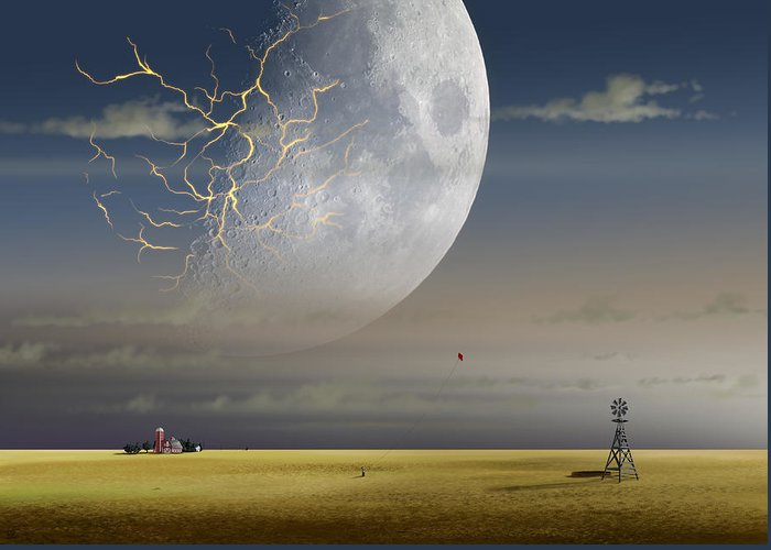 Landscape Greeting Card featuring the digital art Moonfall by Kaname