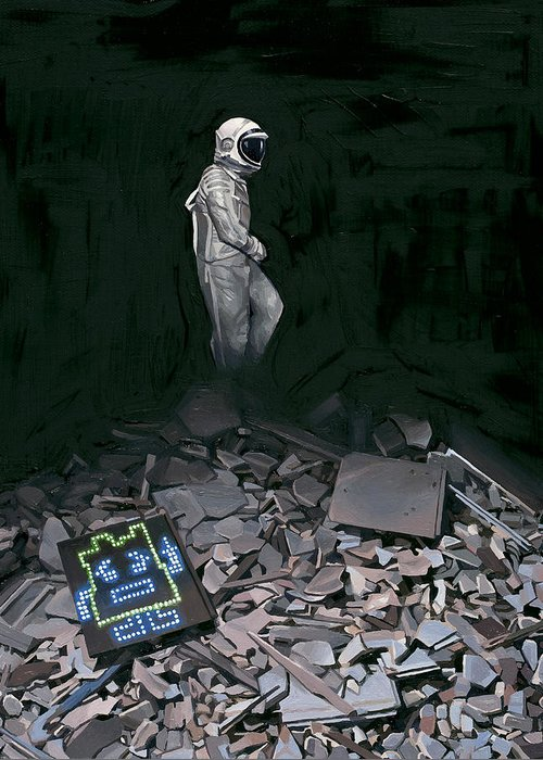 Astronaut Greeting Card featuring the painting Mooninite by Scott Listfield