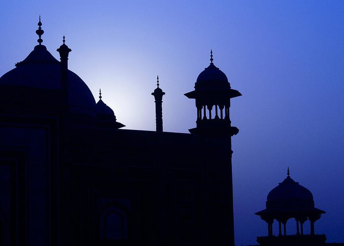 Mosque Greeting Card featuring the photograph Moonlight And Minarets by Michele Burgess