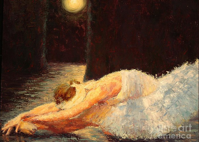 Ballerina (framed) Greeting Card featuring the painting Moonlight Ballet by Colleen Murphy