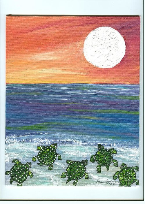 Turtles Greeting Card featuring the painting Moonlight Birthday Swim. by Laura Johnson