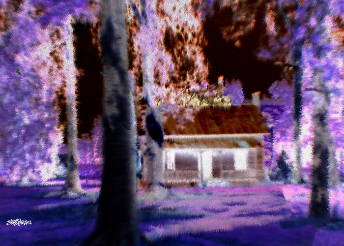 Cabin Greeting Card featuring the digital art Moonlight Cabin by Seth Weaver