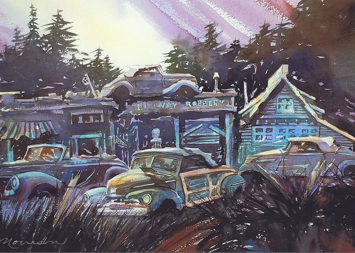 Ford Convertibles Greeting Card featuring the painting Moonlight Cabriolets by Ron Morrison