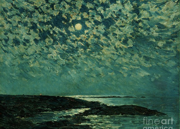 Moonlight Greeting Card featuring the painting Moonlight by Childe Hassam