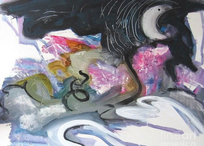 Abstract Paintings Greeting Card featuring the painting Moonlight Fever by Seon-Jeong Kim